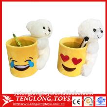 Sostenedor de taza caliente del emoji de la venta, sostenedor de la pluma del emoji de la felpa con el juguete animal