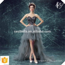 O último design Organza Sweetheart Lace Front Short Back Long com pele cinza Sexy Evening Dress Evening Party Gown