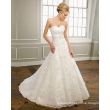 Vestido de noiva com babados vestido de noiva com babados em linha A-line Sweetheart Strapless cetim Organza Lace Chapel Train