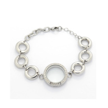 New fashion lovely big bead chain crystal floating lockets bracelet wholesale