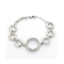 Новая мода прекрасный большой шарик цепи кристалл плавающий медальоны браслет оптом