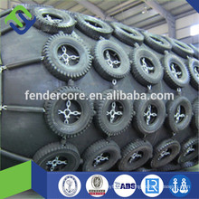Air-filled ship rubber fender with used aircraft tires