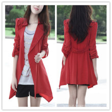 Primavera Outono Moda Barato Estilo Longo Vermelho Mulher Trench Coat