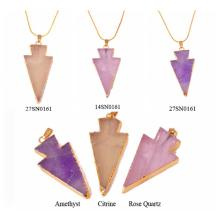 Gilding 18K Natural Gemstone Crystal Jewelry Arrow Pendant Necklace