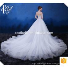 O mais recente Design Lindo Luxo Lace Branco Tecido Appliqued Vestido De Casamento Strapless Alibaba Sweetheart Beautiful Wedding Dress