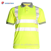Hi Viz Grey Collar Safety Work Wear En471 High Visibility Polo T-shirt Hi Vis Yellow Short Sleeve Polo Workwear Shirt