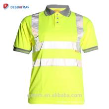 Salut Viz Gris Collar Sécurité Travail Porter En471 Haute Visibilité Polo T-shirt Salut Vis Jaune À Manches Courtes Polo Workwear Chemise