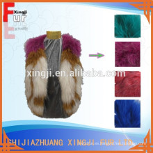 diseño de la moda de color teñido sin mangas chaleco de mapache de punto real