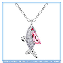 Girls festival accessory sliver fish pendant necklace platinum chains necklace with pink crystal