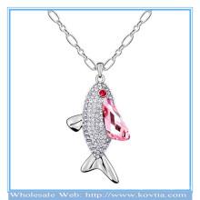 Girls festival acessório sliver peixe pingente colar platina cadeia colar com cristal rosa