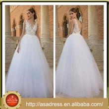 BIE-06 por encargo más el vestido de la novia del tamaño 2015 Appliqued los vestidos de boda sin mangas de la blusa del cordón Neckwear del cuello de V Vestidos De Noiva