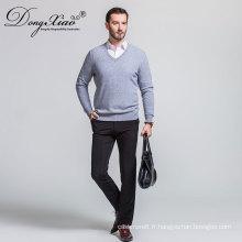Pull à la mode de coutume de tricot de couleur de col de chemise de coutume de T bon marché de haute qualité pour des hommes