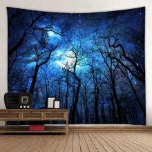Starry Tapestry Galaxy Tapestry Night Sky Wall Opknoping Forest Tapestry Tree Tapestry 3D-afdrukken Wall Art voor woonkamer Bedroo