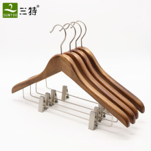 luxury hotel wooden suit hangers with clips