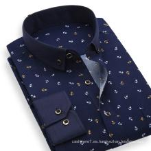2017 hombres de la primavera de impresión camisa de algodón vestido de la camisa de corte entallado