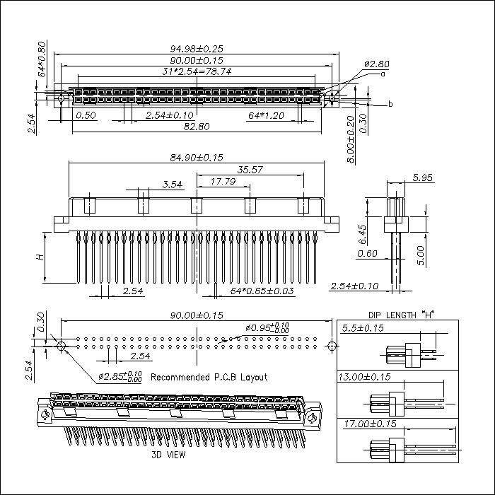 DFS-XX-XXX-203 DIN 41612 Vertical Female Type B Compliant press-Fit Connectors 64 Positions