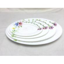 Le dîner en verre opale de haute qualité place la plaque ovale de plat de plat