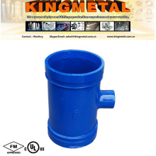 """FM /UL Approved 6""""X4"""" Ductile Iron Blue Grooved Reducing Tee"""
