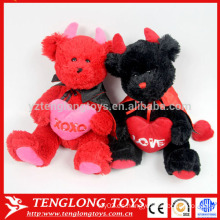 Par de bodas de oso rojo y negro peluche peluche oso de juguete