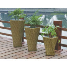 Aluminum Rustproof Frame Flower Rattan Outdoor Used Patio Plant Pot