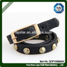 PU Dog Chain Rivets Thin Black