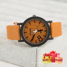 Moda Khaki Canvas Strap Relógio de madeira Relógio de pulso Cestbella Special Gifts Watch