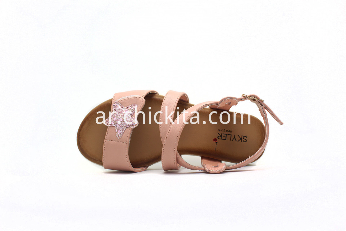 Glitter star with soft foot bed PU outsole Girls Sandals