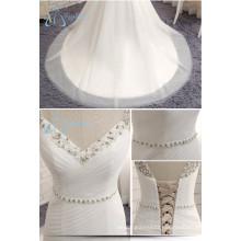 2017 China Beading Pleat Tulle Rhinestone Custom Made Wedding Dress