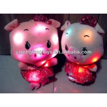 China factory LED toy plush pig toys stuffed LED light toy