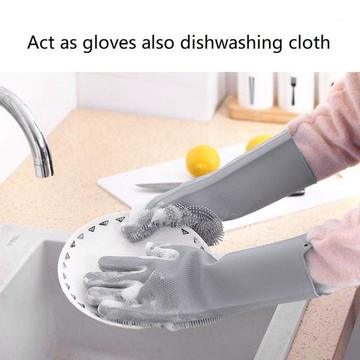 Magic Latex Silicone Dishwashing Gloves Wash Scrubber