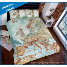 Europe Map Design Printed Polyester Duvet Cover Bedding Set