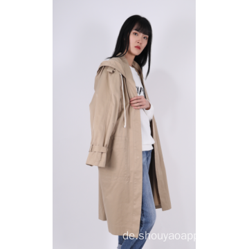 LADIES HOODED TRENCH COAT