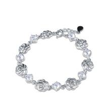 Стерлинговый серебристый роза Аметист и бриллиантовый браслет