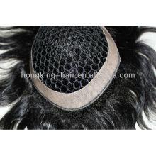 fish net human hair toupee hair piece for men