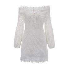 Frauen Puffärmel Schulter aus Spitze Stickerei Kleid
