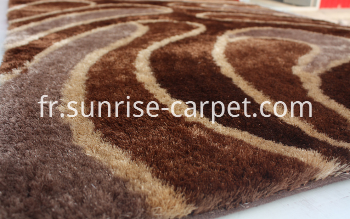 Silk Shaggy Polyester With Design Rug