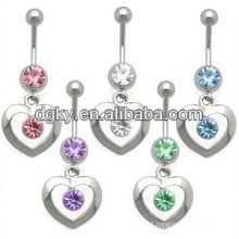 Customized diamond heart navel belly rings jewelry
