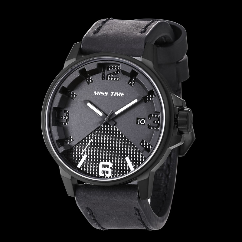 luxury leather bracelet stainless steel men watch