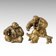 Eastern Statue Traditional Old Couple Bronze Sculpture Tple-005