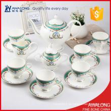 Tipo de material europeo de la porcelana del sistema de té de encargo 15pcs con la etiqueta de la flor