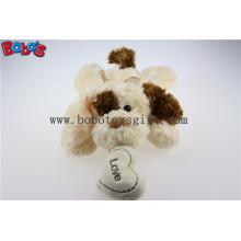 Cuddly Liegen gefüllte Beige Hund Tier mit Tan Ohr und Herz Kissen Bos1190