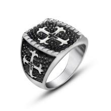 Матовый Черный Крест Кольцо Из Нержавеющей Стали Широкая Литая Menband