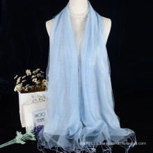 Double layer solid color viscose with silk scarf for evening dress