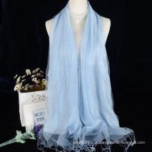 Dupla camada de cor sólida viscose com lenço de seda para vestido de noite