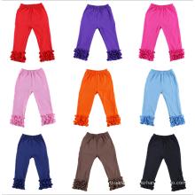 Hot Sale Kids Ruffle Bottom Pants Outfit Cute Newborn Clothes Girls Triple Ruffle Pants Wholesale
