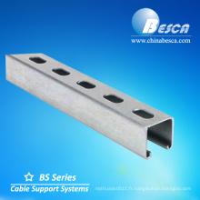 taille de canal d'entretoise en aluminium c perforé