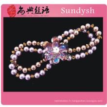 antiquité chunky fausse perle fleur mode violet fait à la main perlé gemme naturel pierre stretch bracelets cristal en gros