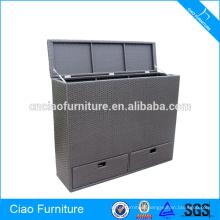 High size rattan storage cushion box