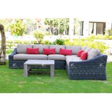 Precio competitivo sofá de la esquina del sofá de los muebles al aire libre del PE fijado para los muebles de jardín al aire libre