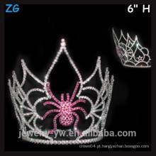 Coroa de cristal rosa do Dia das Bruxas, coroa de aranha assustador